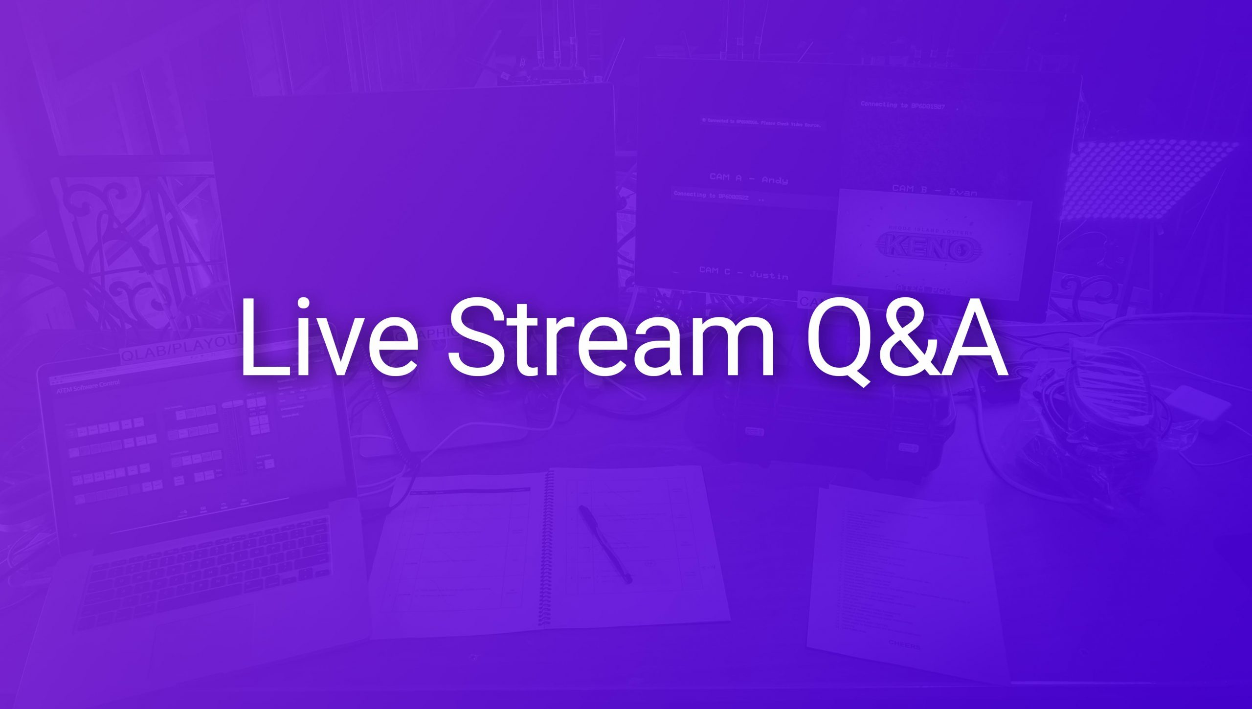 Stream help text over photo of monitors and streaming equipment.